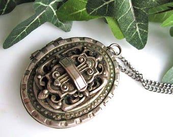 Victorian Silver Locket, Heraldic Shield Garden Gate Front Image, Large High Relief Pewter, Mourning Locket, Keepsake Treasures