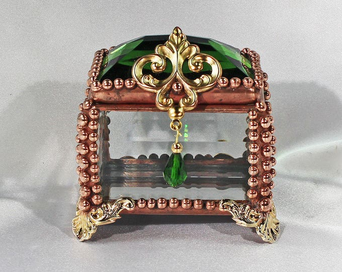 Fairy Box, Vintage, Glass Jewel, Stained Glass Box