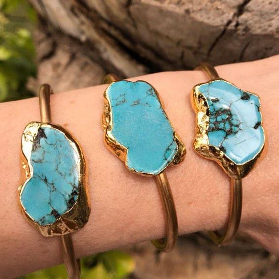 Turquoise Cuff Bracelets, Boho Jewelry