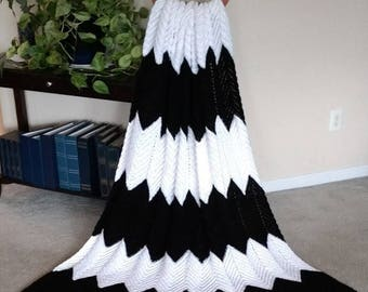 Hand Crochet Afghan Black & White Chevron Pattern