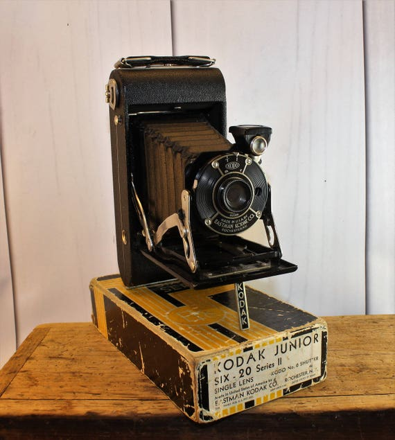 EXCELLENT CONDITION 1930s Kodak Junior Six-20 Series II Camera In Box, Folding Camera, Accordion Camera, Collectible Camera, Industrial,