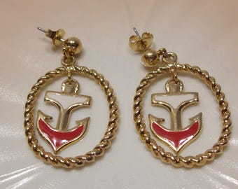 Avon Red and White Dangle Anchor Pierced Earrings