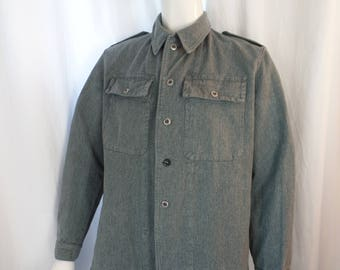 70's vintage mens Military army grey canvas utility jacket with bayonet/belt hooks, adjustible waist minimalist- US mens Med/size EU 52