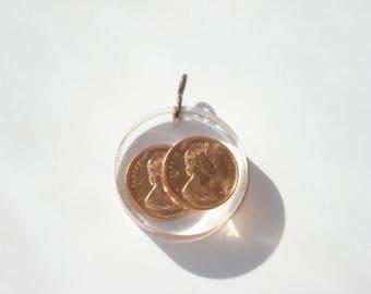 Vintage Round Lucite Pendant  - Canadian Pennies  - Boho Hippie Necklace Pendant