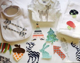 Woodlands Animals Baby Shower Kit, 25 Appliques, Baby Boy Shower, Onesie  Decorating Kit