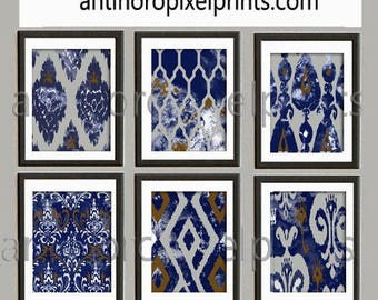 Watercolor Navy Indigo Grey White Damask Wall Art - Set of (6) Prints  16x20 Prints - Custom Colors Sizes Available (UNFRAMED) #125653809