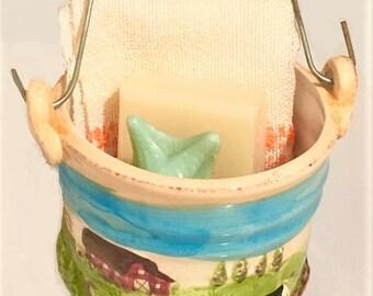 Vintage Ceramic Bucket, WCL rustic farm style pottery basket, bath soaps holder, vintage home decor, planter, utensil holder