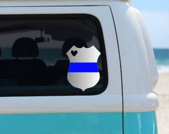 Police Badge Vinyl Decal | Thin Blue Line | Police Wife | Police Family | Police Support Decal | Blue Lives Matter
