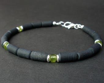 Gem Peridot Men Bracelet 5mm, Peridot - Matte Black Obsidian, 925 Sterling Silver, August Birthday Gift For Him, Peridot Jewelry For Men