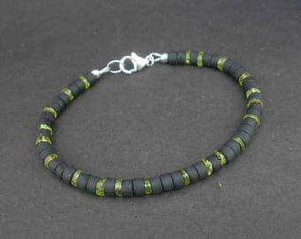 Peridot Men Bracelet, Peridot Heishi 5.5mm, Matted Black Obsidian 925 Sterling Silver, Peridot Jewelry for Men, August Birthday gift for him