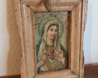Madonna icon painting postcard from Ecuador