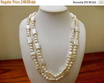 ON SALE Vintage Long Freshwater Pearl Necklace Item K # 2926