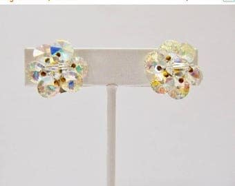 ON SALE Vintage Fancy Cut Aurora Borealis Crystal Cluster Earrings Item K # 888
