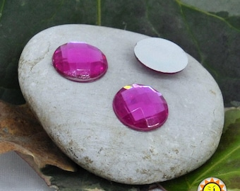 Pink acrylic Cabochons 10 x 14mm round