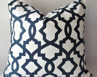 "Designer Decorative Pillow Cover- Navy Trellis. Sizes -10"",12"",14""16""18""20""22""24""26"" Square, Lumbar or Euro Sham ( Same Fabric Both Sides )"