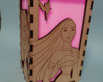 Pocahontas Etched Wood Color Changing Luminary