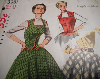 Vintage 1950's Simplicity 3981 Weskit and Skirt Sewing Pattern Size 14 Bust 32