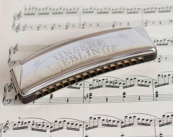 """Vintage Harmonica M.Hohner """"Unsere lieblinge"""", Made in Germany Mouth Organ Unsere lieblinge, Key of  C"""