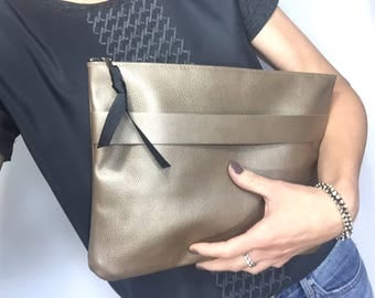 Leather clutch, beige leather bag foldover clutch leather bag