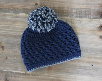 Navy Baby Boy Pom Pom Hat, Crochet Boy Hat, Toddler Boy Hat, Navy and Gray Boy Hat