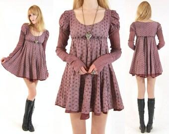 Vtg 70s Lavender Leg Of Mutton Sleeve Mini Dress S