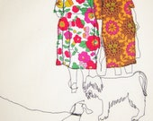 Old ladies & dogs embroidery (no frame)