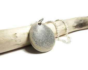 Grey Smooth Edged Beach Stone Necklace, 18 In Silver Curb Chain, Lake MI Stone, Handmade Necklace, Natural Stone, Outline Edged, Edgy Stone