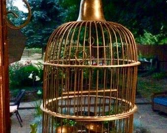 "Vintage Solid Brass Birdcage 24"" tall x 12"" (Ring Incl) BOHO Elegant Home Decor"