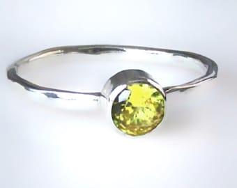 Yellow Topaz Ring, Golden Topaz Ring, Silver Stacking Ring ,November Birthstone Ring, 5 mm Gemstone Ring