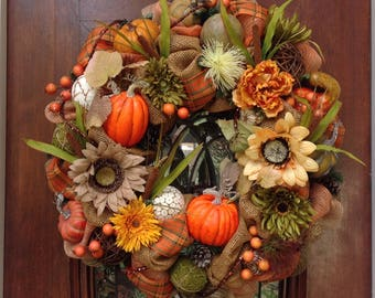 Large Fall/Thanksgiving Wreath