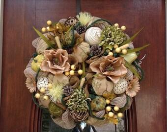 Neutral Magnolia Burlap and Mesh Wreath