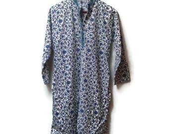 SALE Indian Cotton Dress Paisley Print S M Vintage