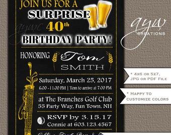 Golfing Birthday Party Invitation Adult Beer Birthday Party Invitation Printable Beers Invitation Chalkboard 40th Birthday Invitations Golf