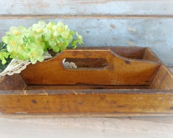 primitive wooden caddy cutlery tray carrier tote box silverware caddy tool box farmhouse kitchen decor