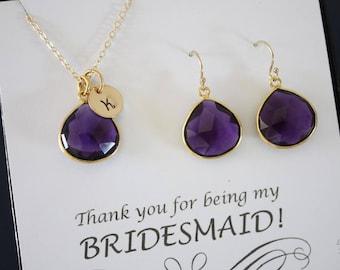 4 Amethyst Quartz Initial Bridesmaid Necklace and Earring set, Bridesmaid Gift, Purple Quartz, 14k Gold Filled, Monogram Jewelry