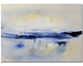 """Winter Landscape Painting 11""""X8.5"""" Original Acrylic painting, White, Blue, Abstract, Original Art, Christmas Gift Ideas, Husband Gift"""