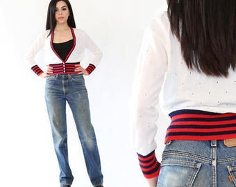 Vtg 70s white hand loomed knit Red & Blue striped Nautical sweater cardigan XS