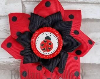 Ladybug Flower Bow