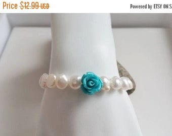 ON-SALE Blue Rose Coral, Rhinestone and Pearl Bracelet - Freshwater Pearl, Stretchy Bracelet, Girl Bracelet, Flower Bracelet, Bridesmaid Gif