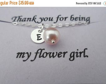 ON-SALE Customized Initial Charm and Pearl Bracelet - Junior Bridesmaid and Flower Girl Gift, Wedding Jewelry Gift