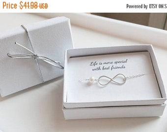 ON-SALE TWO Sets -  Infinity Bracelets - Mother of the Groom and Bride Gifts, Mother in Law, Mothers Gift, Personalized Card, Jewelry Box