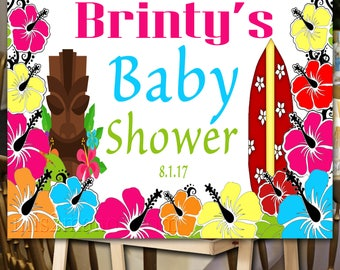 Luau Baby Shower. Birthday Poster. Backdrop - Printable sign - Pool Party Personalized Sign DIY Print candy buffet sign, dessert table,