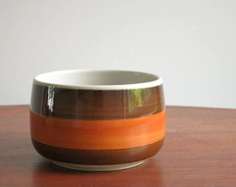 Rorstrand Annika Large Open Sugar Bowl - Rörstrand Sweden Sugar Bowl - Marianne Westmann Design - 1970s Swedish Danish Modern - Brown Orange