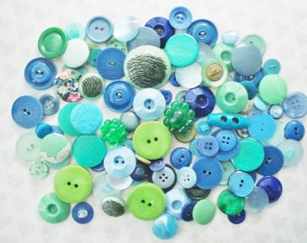 Rainbow Button Grab Bag - 100 Assorted Sewing Buttons - Blue and Green Plastic Buttons - Smal Sewing Buttons - Tiny Blue Plastic Buttons