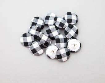 """18 Vintage 7/8"""" Fabric Covered Shank Buttons. Black and White Checked Design. Sewing, Costume Design. Metal Back and Shank. Crafts Item 3791"""