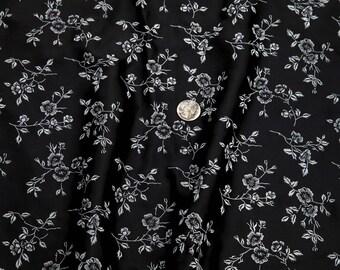 "1 1/2 Yards of Vintage 58"" Dark Black Crepe Back Satin Fabric. Off White Printed Flowers. Medium Weight. Sewing, Apparel, Crafts. Item 4036F"