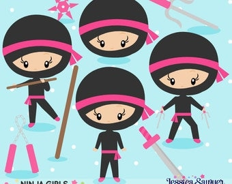 INSTANT DOWNLOAD - Girls Ninja Clipart and Vectors for personal and commercial use
