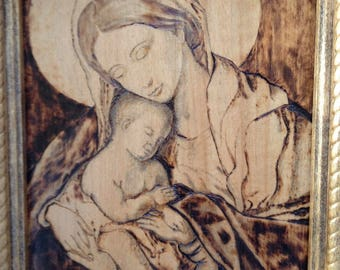 Mary and Jesus, Mother and Child, Drawing,Woodburning,Wood,Picture,Handmade,Art,Wall Art,Christian Art,