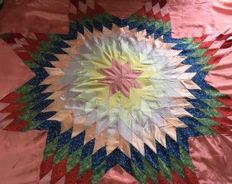 Vintage Quilt Top Satin Pink Star Pattern