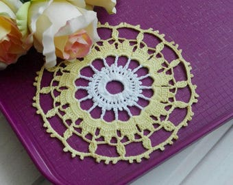Small crochet doily White and yellow lace doilies Small cotton crochet doilies Small doily Small lace doily 393